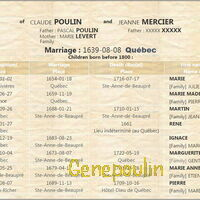 Quelques descendants du couple Poulin Mercier